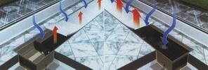 Podlahový konvektor vytváří u skleněné stěny tepelnou clonu a zamezuje rosení skla.