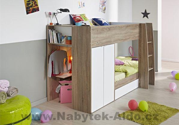 Dětská patrová postel Stim pro dvě děti se dvěma šatními skříněmi a úložným prostorem, cena: 10 253 Kč