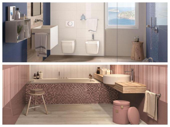 Skvělá kombinace dlažby imitující dřevo a jednobarevných velkoformátových obkladů vytvoří skutečně luxusní koupelnu. Dlažba je vhodná jak do interiéru tak i exteriéru např. jako dlažba na terasu či k bazénu.
