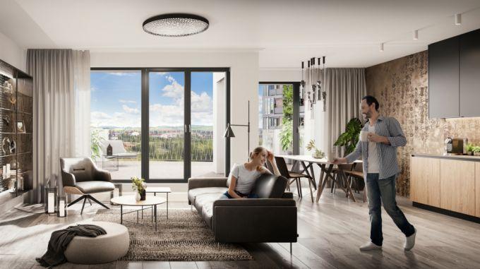 Arcus City moderní bytové domy v pražských Stodůlkách - obývací pokoj