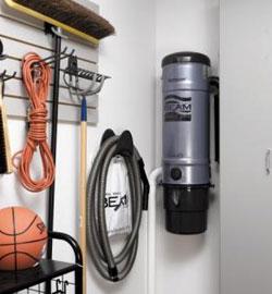 Sací agregát umístěný v garáži