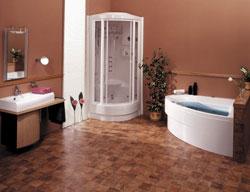 Koupelna s vanou Auriga, masážním sprchovým boxem Caribic Professional a umyvadlem Excentrik