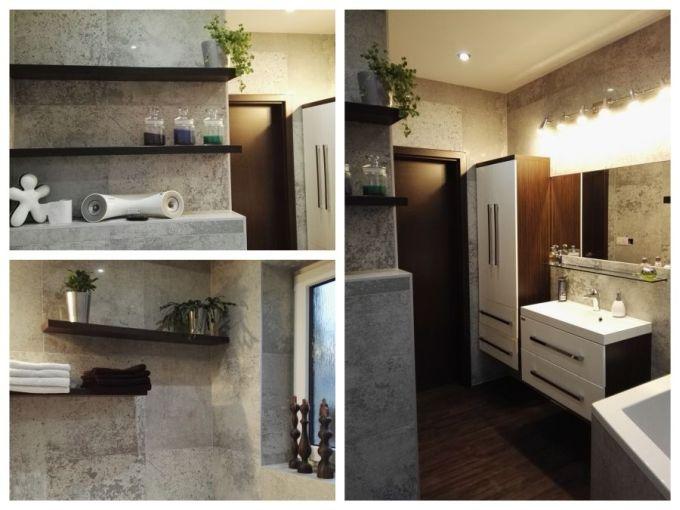 Koupelna již s novým velkoformátovým obkladem…