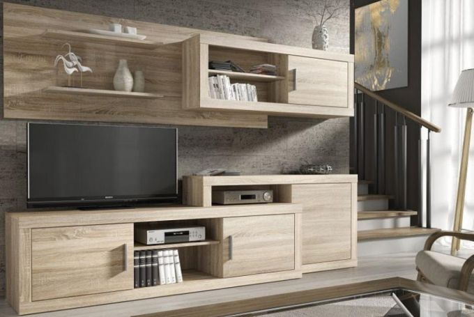 Netradičně trojrozměrné police obývací stěny