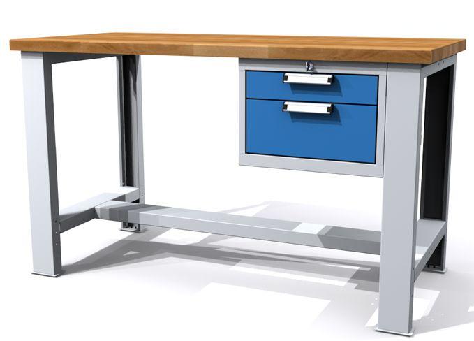 Pracovní dílenský stůl ALCERA® UNI - provedení s jedním podvěsným kontejnerem (výška: 700 - 1055 nebo 880, šířka: 1500 nebo 2000, hloubka: 700 mm)