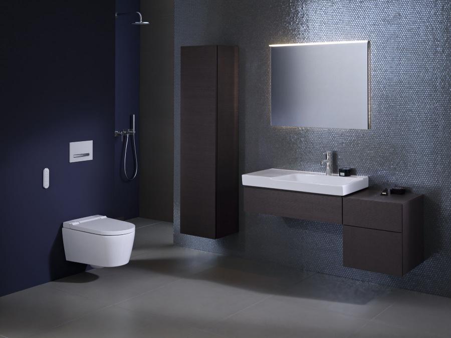 Nové sprchovací WC Geberit AquaClean Sela je dostupné s krytem z lesklého chromu nebo s plastovým krytem v barvě alpská bílá.