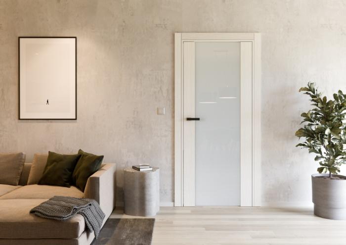 Dveře UNICO 11 s povrchem SOLO MATRIX – MONZA a sklem SATINATO