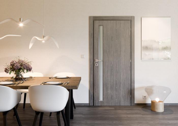 Dveře UNICO 21 s povrchem SOLO MATRIX – RIMINI a sklem SATINATO