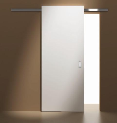 Posuvný systém PATRIOT z nabídky společnosti SOLODOOR umožňuje klouzání dveří po pojezdové liště umístěné  nade dveřmi