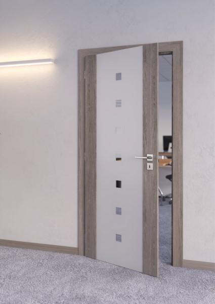 Dveře SOLODOOR z řady SONET s výplní z tvrzeného pískovaného skla