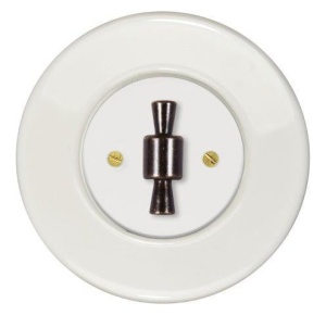 přepínač tří světel RETRO s rámečkem z bílé keramiky a designovou kličkou