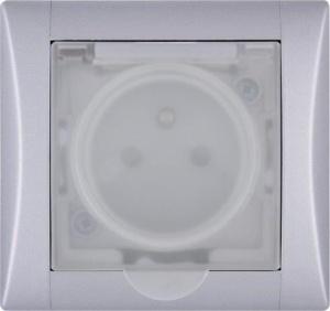 Zásuvka ELEGANT s krytím IP 44 a průhledným víčkem v odstínu hliník
