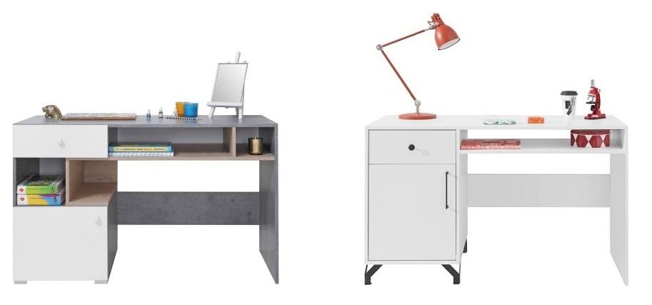 Psací stůl Omega – bílá / dub / beton, Psací stůl Bjorn, skandinávský styl – bílý