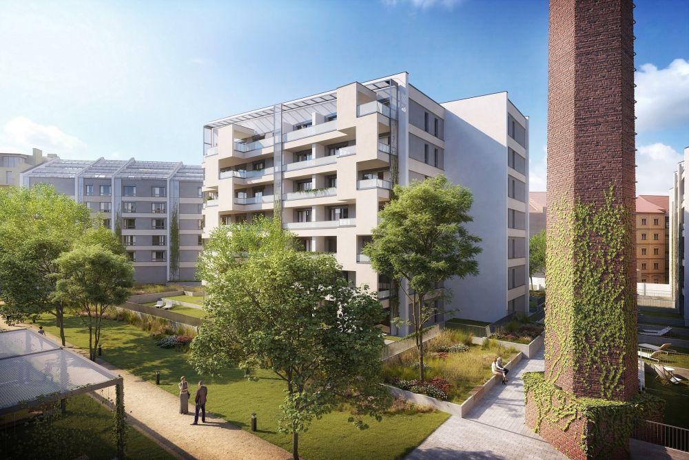 V bývalých Nuselských mlékárnách vzniká bytový areál Chytrého bydlení se zeleným vnitroblokem