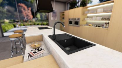 Granitový dřez Sinks LINEA 780 N a granitové baterie VITALIA GR - obojí se zárukou 5 let