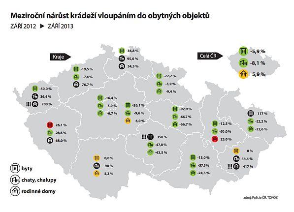 Mapa: Meziroční nárůst kriminality: září 2013