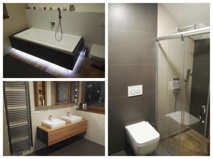 Velkoformátová dlažba vimitaci dřeva do desénové koupelny.